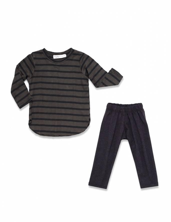 Alef Alef | אלף אלף - בגדי מעצבים | חולצת אליפסה פסים שחור ירוק