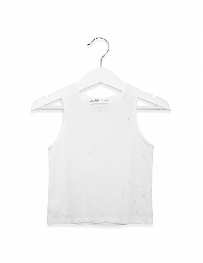 Alef Alef   אלף אלף - בגדי מעצבים   גופיית עיגול לבן מחורר