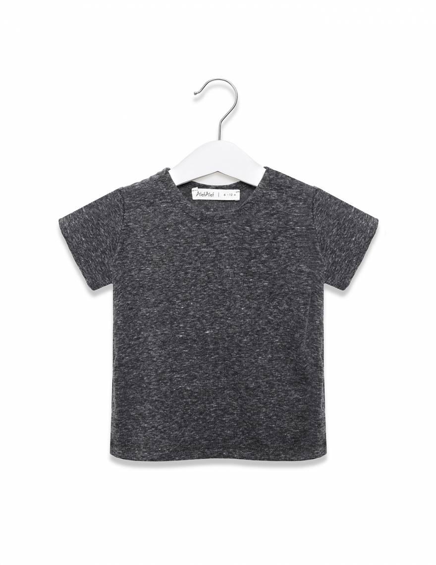 Alef Alef   אלף אלף - בגדי מעצבים   חולצת כוכב אפור מלאנז'