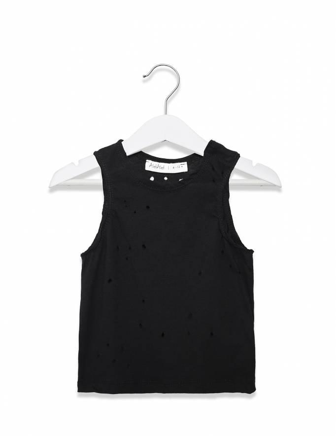 Alef Alef | אלף אלף - בגדי מעצבים | גופיית עיגול שחור מחורר