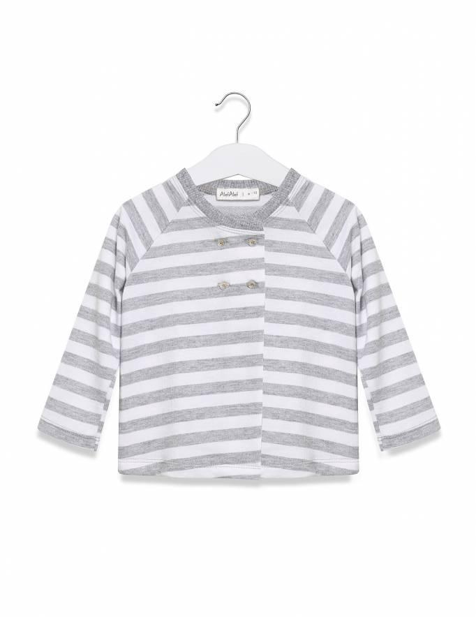 Alef Alef | אלף אלף - בגדי מעצבים | עליונית קוביה פסים אפור לבן