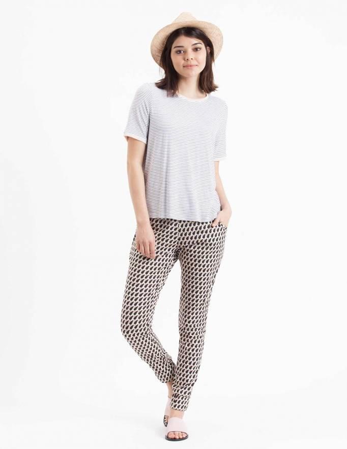 Alef Alef   אלף אלף - בגדי מעצבים   חולצת Picado פסים לבן שחור ריב ורוד