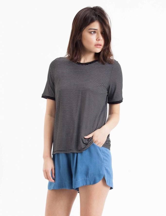 Alef Alef   אלף אלף - בגדי מעצבים   חולצת Picado פסים שחור לבן