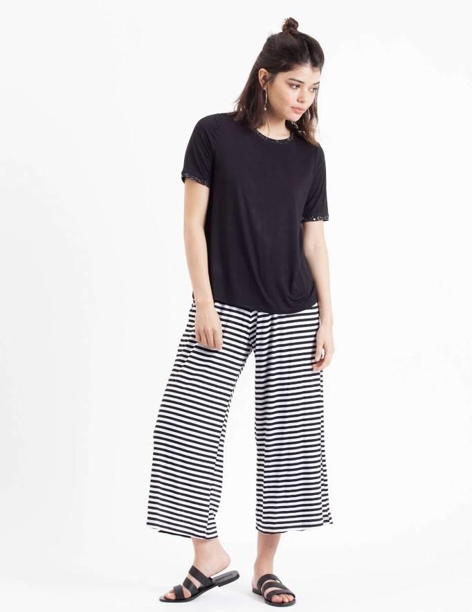 Alef Alef   אלף אלף - בגדי מעצבים   חולצת Picado שחור ריב הדפס