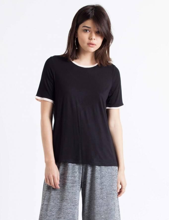 Alef Alef | אלף אלף - בגדי מעצבים | חולצת Picado שחור ריב ורוד