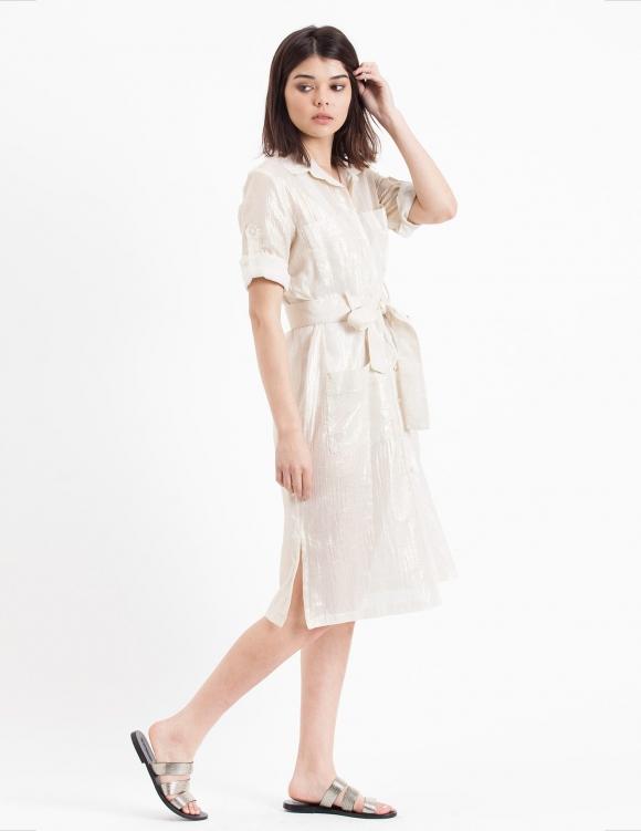 Alef Alef | אלף אלף - בגדי מעצבים | שמלת Flock לבן זהב