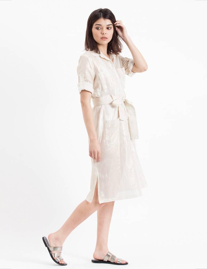 Alef Alef   אלף אלף - בגדי מעצבים   Sample#27   שמלת Flock לבן זהב