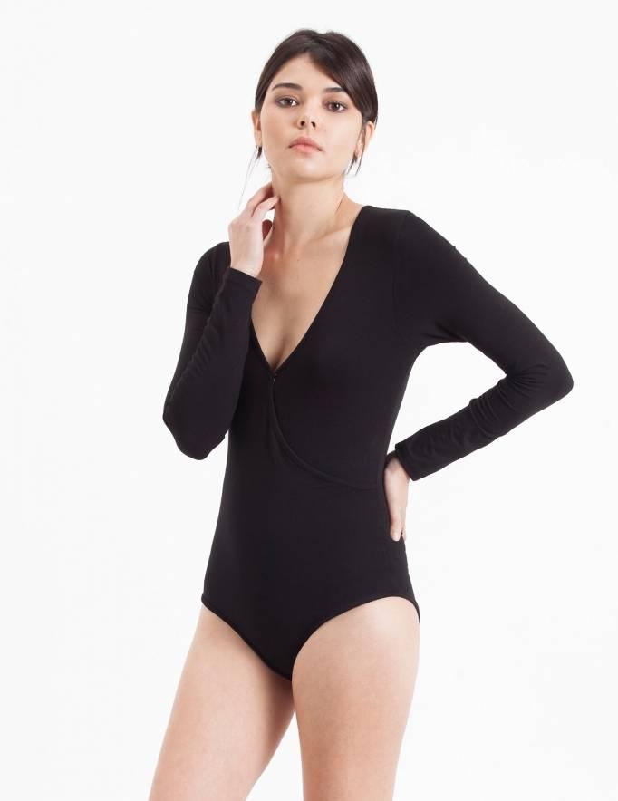 Alef Alef | אלף אלף - בגדי מעצבים | בגד גוף X שחור