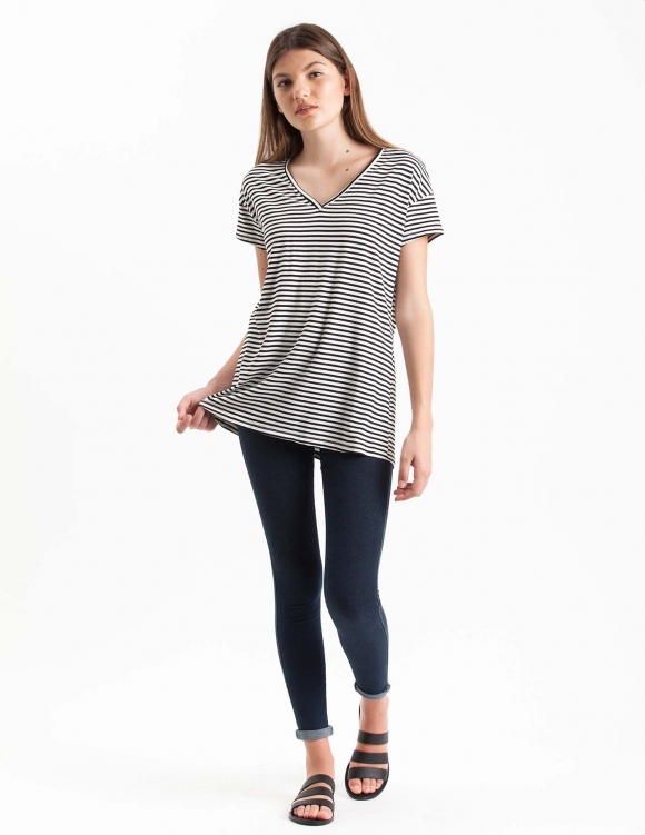 Alef Alef | אלף אלף - בגדי מעצבים | חולצת Regalo פסים שחור לבן
