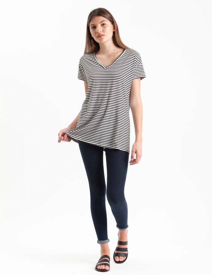 Alef Alef   אלף אלף - בגדי מעצבים   חולצת Regalo פסים שחור לבן