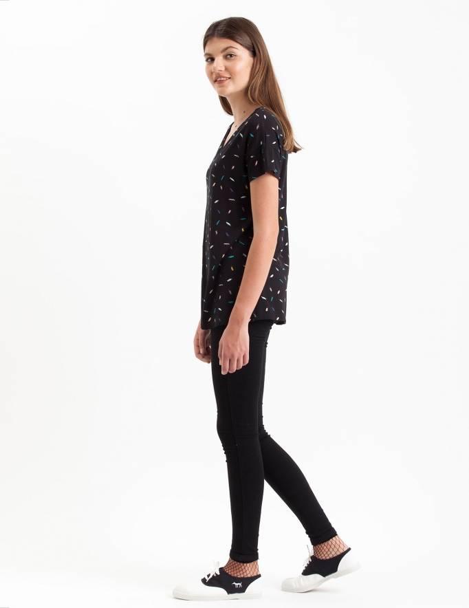 Alef Alef | אלף אלף - בגדי מעצבים | חולצת Regalo שחור משיכות צבע