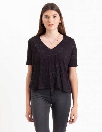 Alef Alef | אלף אלף - בגדי מעצבים | חולצת Lipin שחור דפוס לבן