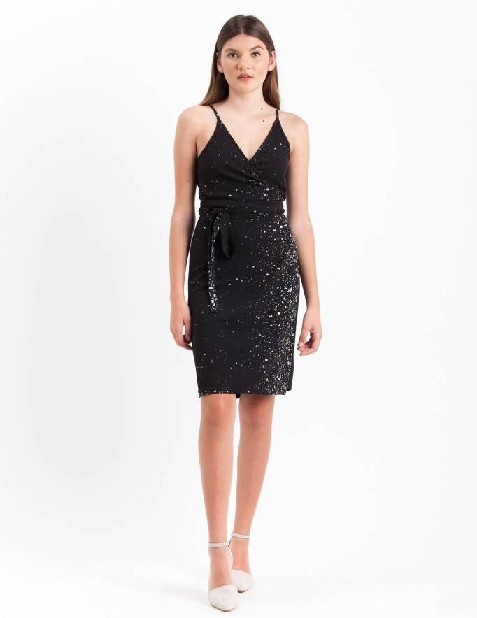 Alef Alef | אלף אלף - בגדי מעצבים | שמלת Anya שחור קונפטי צבעוני