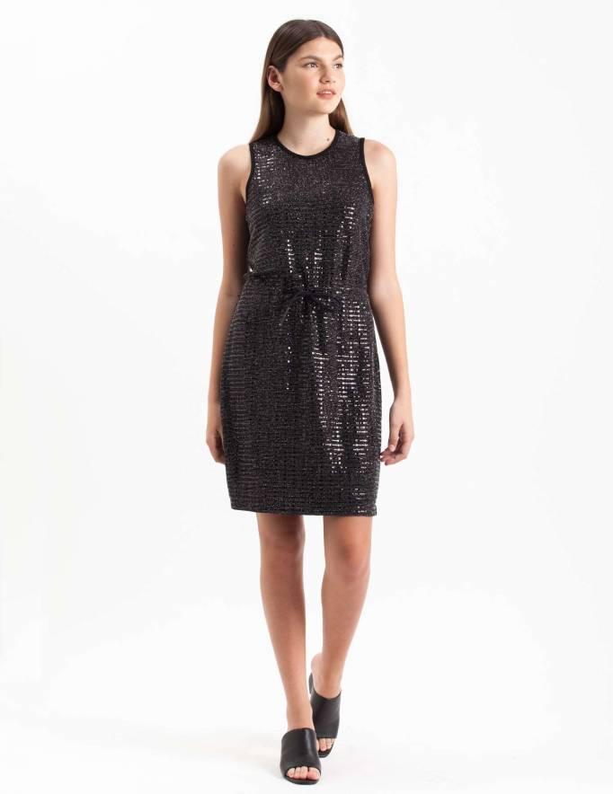 Alef Alef   אלף אלף - בגדי מעצבים   שמלת Mian שחור נוצץ