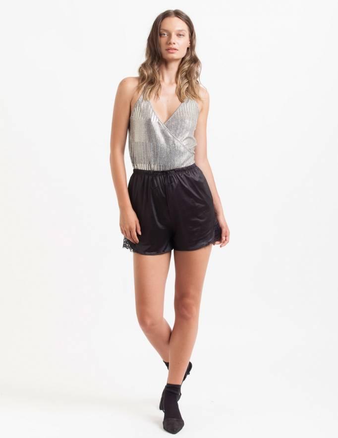 Alef Alef | אלף אלף - בגדי מעצבים | מכנסי Furo שחור מבריק