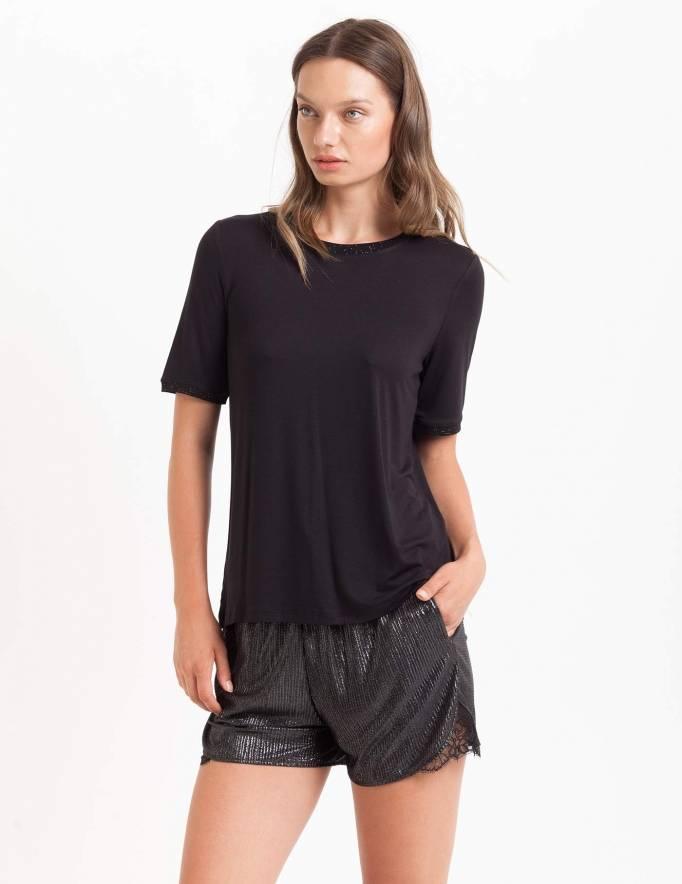 Alef Alef   אלף אלף - בגדי מעצבים   חולצת Picado שחור ריב נקודות זהב