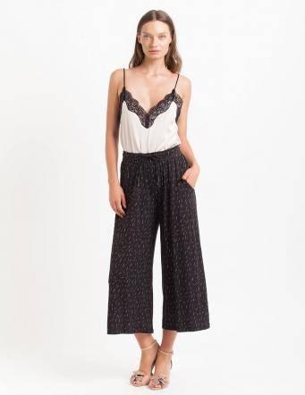 Alef Alef | אלף אלף - בגדי מעצבים | מכנסי Baskin שחור משיכות