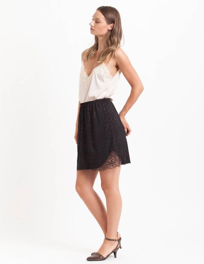 Alef Alef | אלף אלף - בגדי מעצבים | חצאית Suki שחור נקודות כסף