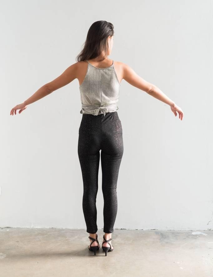 Alef Alef | אלף אלף - בגדי מעצבים | מכנסי Shosh שחור נקודות כסף