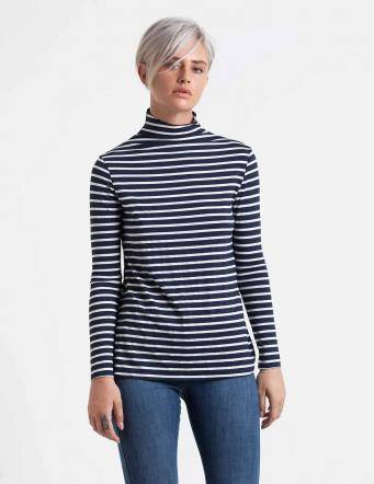 Alef Alef   אלף אלף - בגדי מעצבים   חולצת Fran פסים כחול לבן