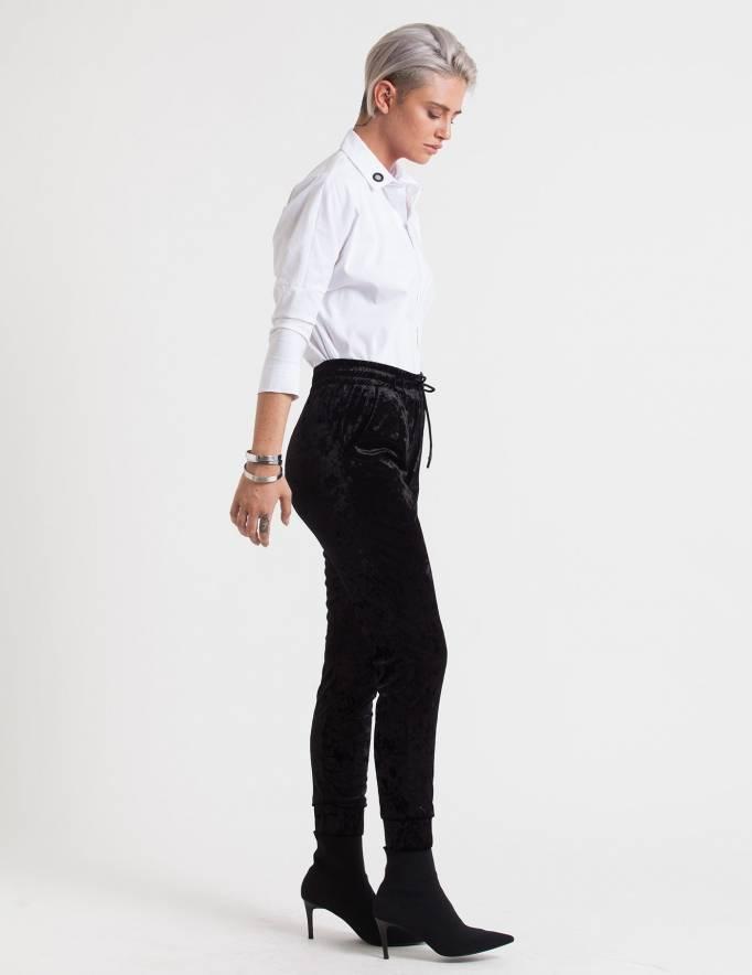 Alef Alef | אלף אלף - בגדי מעצבים | מכנסי Ray שחור קטיפה