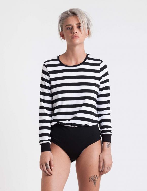 Alef Alef | אלף אלף - בגדי מעצבים | בגד גוף Marnie פסים שחור לבן