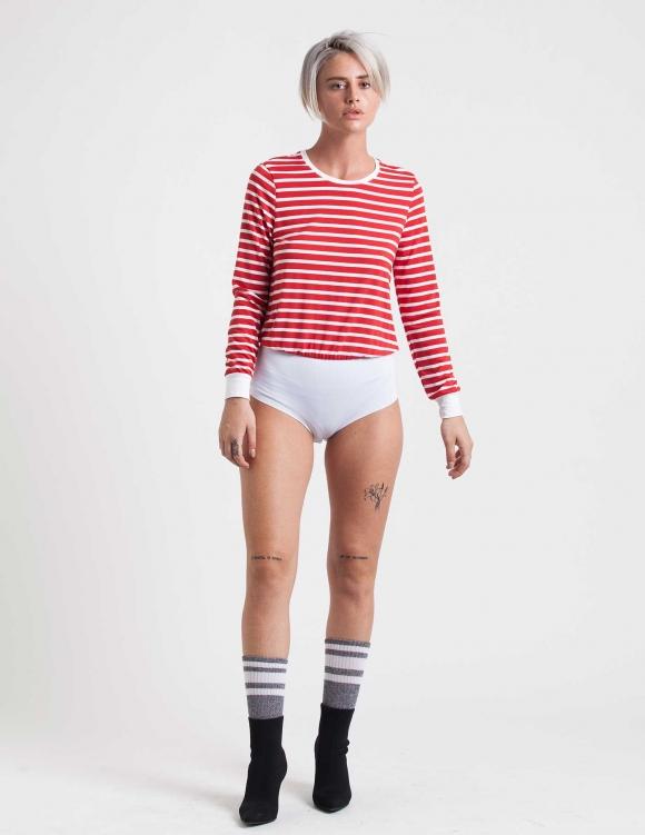 Alef Alef | אלף אלף - בגדי מעצבים | בגד גוף Marnie פסים אדום לבן