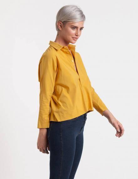 Alef Alef   אלף אלף - בגדי מעצבים   חולצת Alison חרדל