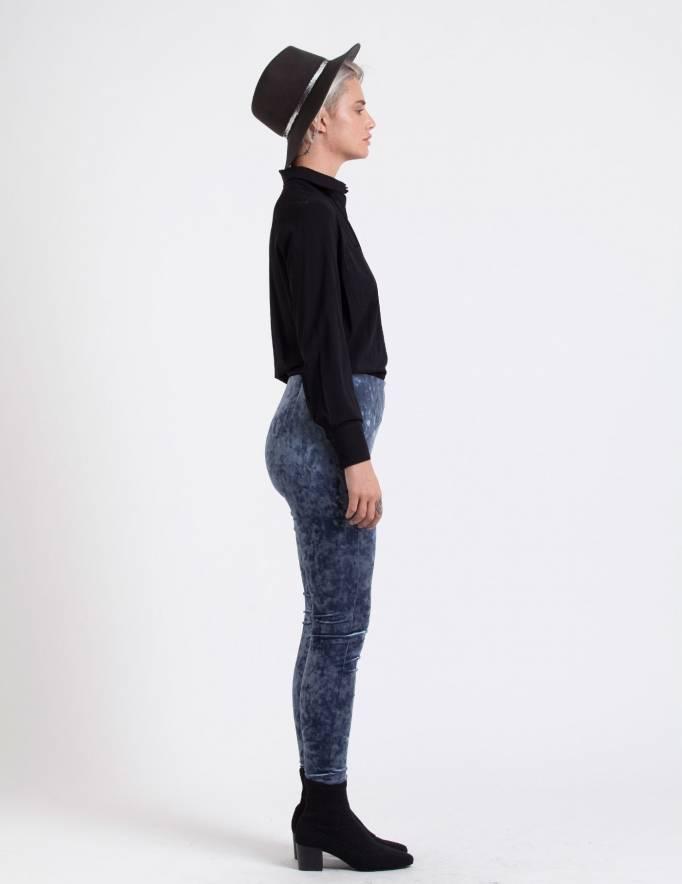 Alef Alef | אלף אלף - בגדי מעצבים | מכנסי Shoshanna כחול קטיפה