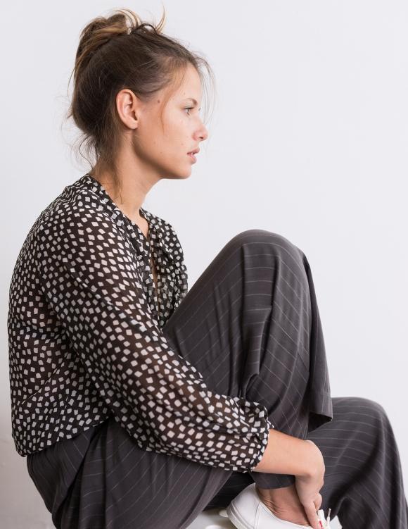 Alef Alef | אלף אלף - בגדי מעצבים | בגד גוף Aidy שחור הדפס לבן