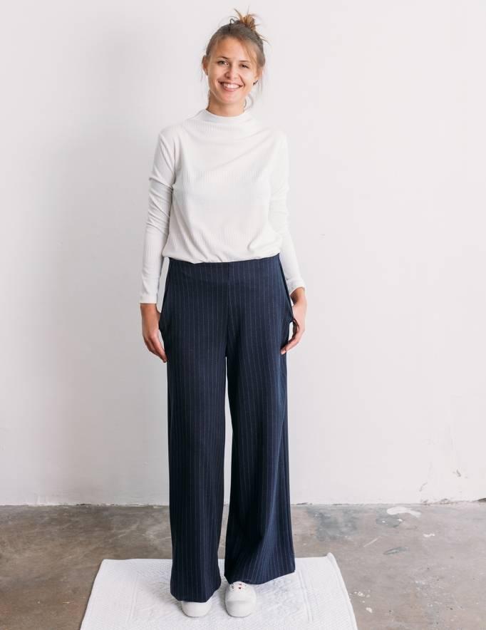 Alef Alef | אלף אלף - בגדי מעצבים | מכנסי Konner כחול פס אפור