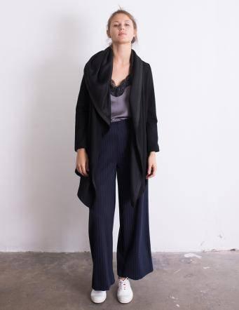Alef Alef | אלף אלף - בגדי מעצבים | מעיל Lina שחור טקסטורה