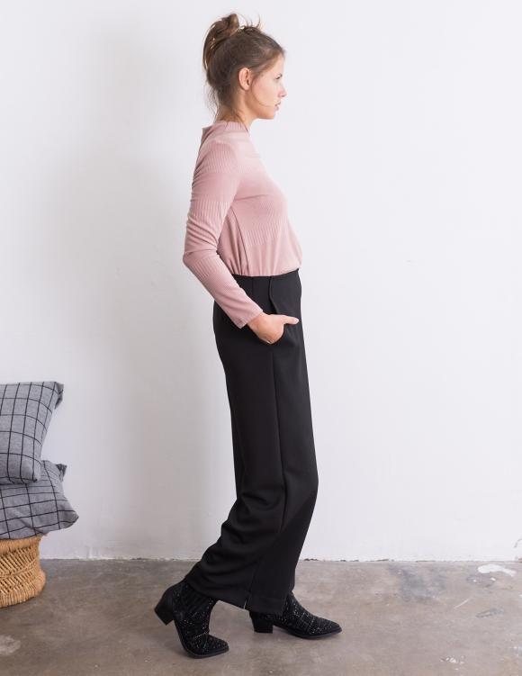 Alef Alef | אלף אלף - בגדי מעצבים | מכנסי Konner שחור טקסטורה