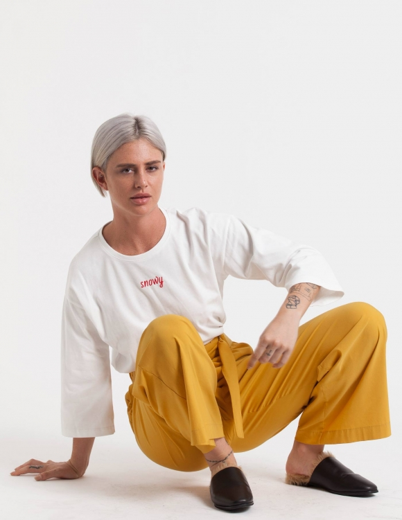 Alef Alef | אלף אלף - בגדי מעצבים | חולצת Hanna לבן רקמה