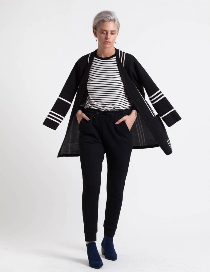Alef Alef | אלף אלף - בגדי מעצבים | עליונית Mimi Rose שחור פס לבן