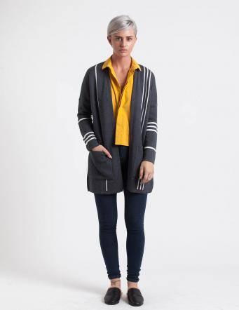 Alef Alef | אלף אלף - בגדי מעצבים | עליונית Mimi Rose אפור פס לבן