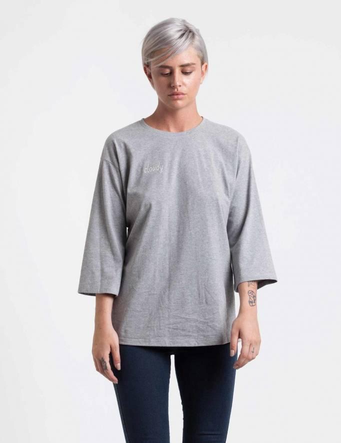 Alef Alef | אלף אלף - בגדי מעצבים | חולצת Hanna אפור ריקמה