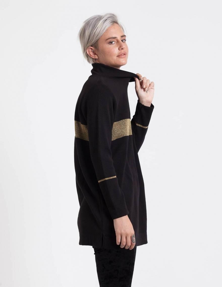Alef Alef | אלף אלף - בגדי מעצבים | סוודר Adam שחור פס זהב