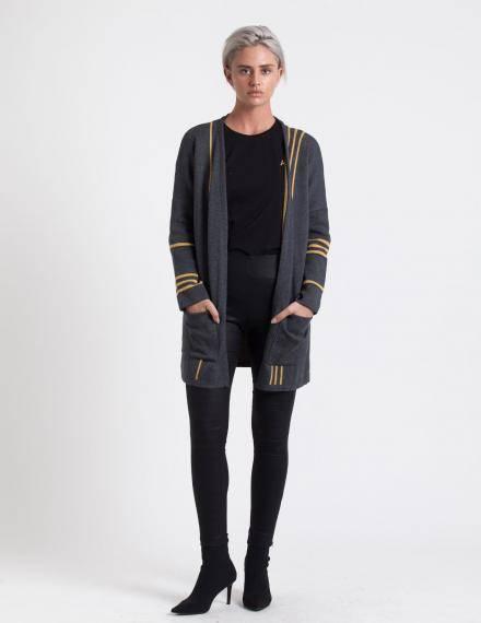 Alef Alef | אלף אלף - בגדי מעצבים | עליונית Mimi Rose אפור פס חרדל