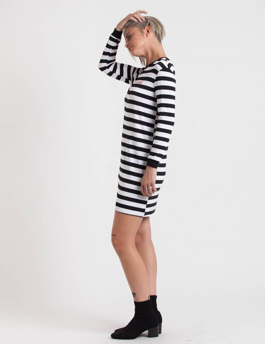Alef Alef | אלף אלף - בגדי מעצבים | שמלת Becky פסים ריקמה