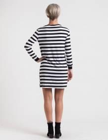 Alef Alef   אלף אלף - בגדי מעצבים   שמלת Becky פסים ריקמה
