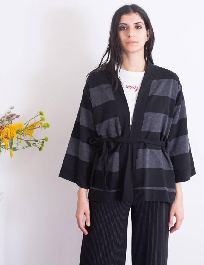 Alef Alef | אלף אלף - בגדי מעצבים | ז'קט Jessa פסים שחור אפור