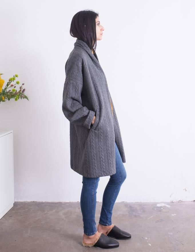 Alef Alef | אלף אלף - בגדי מעצבים | מעיל Caroline אפור