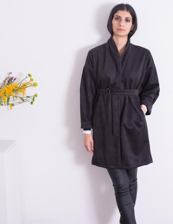 Alef Alef | אלף אלף - בגדי מעצבים | מעיל Caroline שחור סוויד