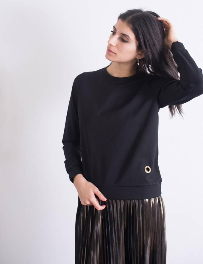Alef Alef | אלף אלף - בגדי מעצבים | סווטשירט Corey שחור ניט