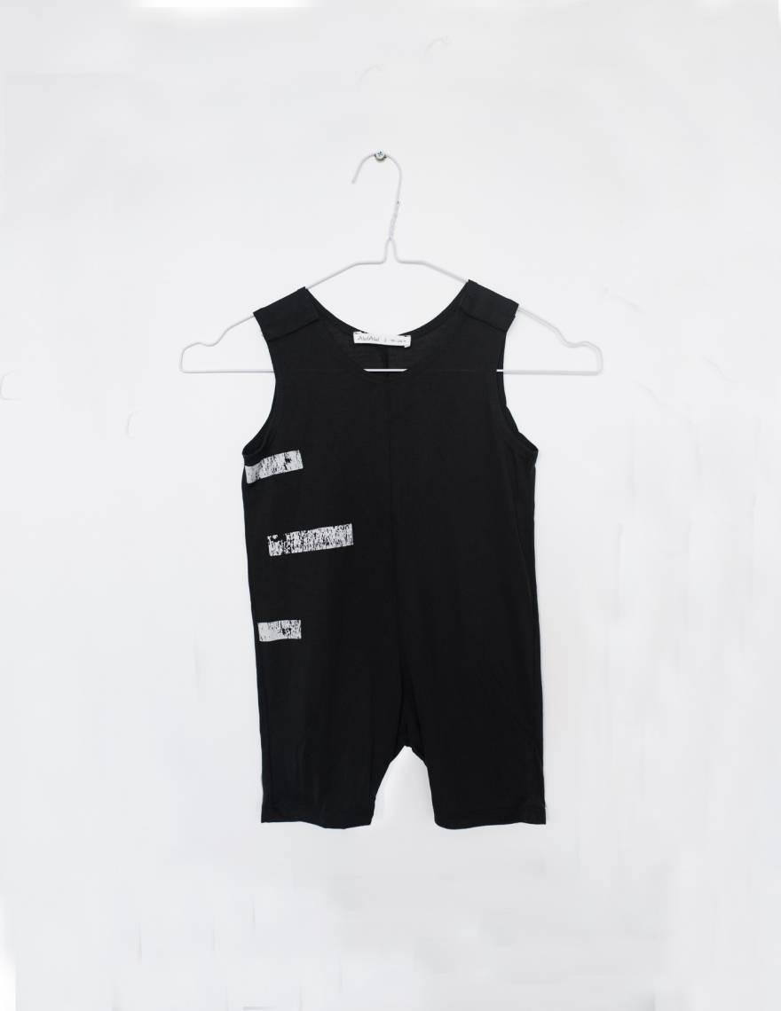 Alef Alef   אלף אלף - בגדי מעצבים   אוברול קו שחור פס לבן