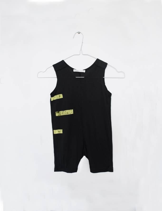 Alef Alef   אלף אלף - בגדי מעצבים   אוברול קו שחור פס צהוב