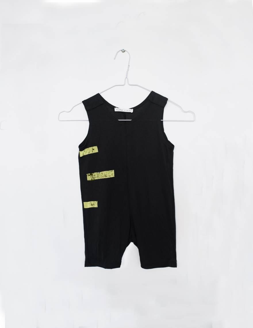 Alef Alef | אלף אלף - בגדי מעצבים | אוברול קו שחור פס צהוב