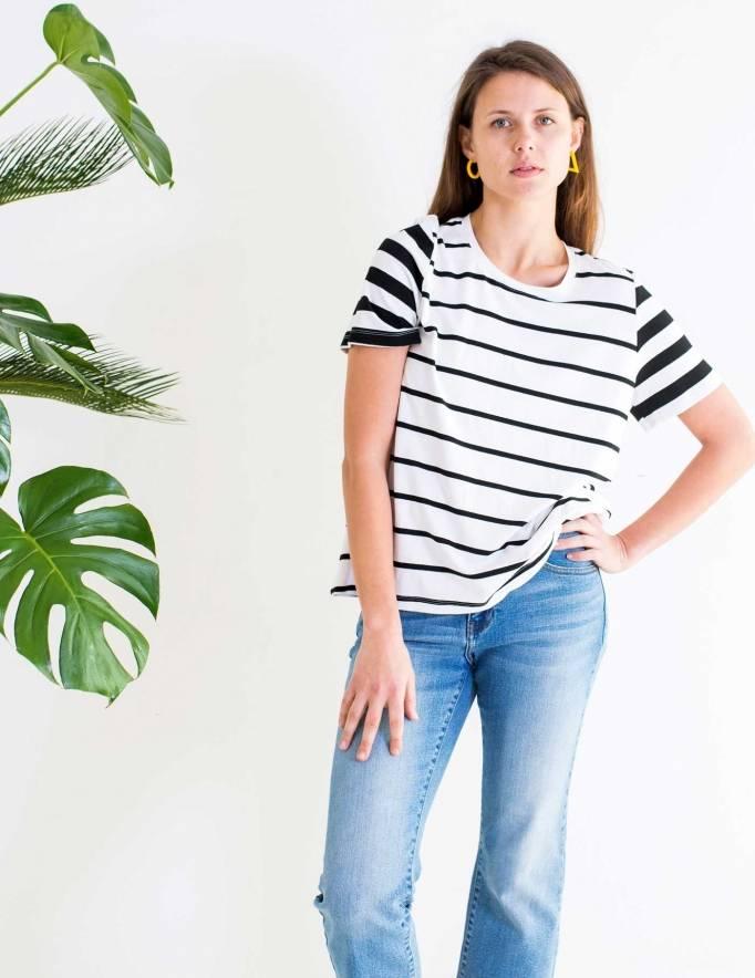 Alef Alef | אלף אלף - בגדי מעצבים | חולצת SAGE פסים שחור לבן