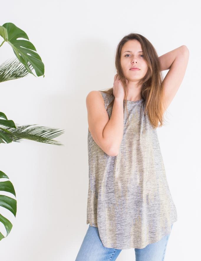 Alef Alef | אלף אלף - בגדי מעצבים | גופיית Rue אפור זהב